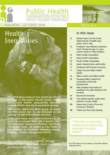 October 2008 PHA News - Public Health Association of New Zealand