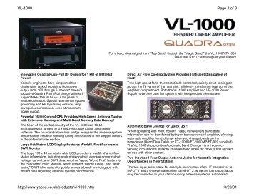 VL-1000 Brochure - Fox Tango Yaesu Manuals