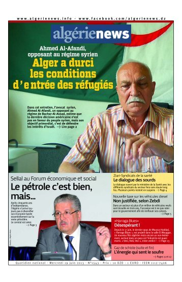 Fr-19-06-2013 - Algérie news quotidien national d'information