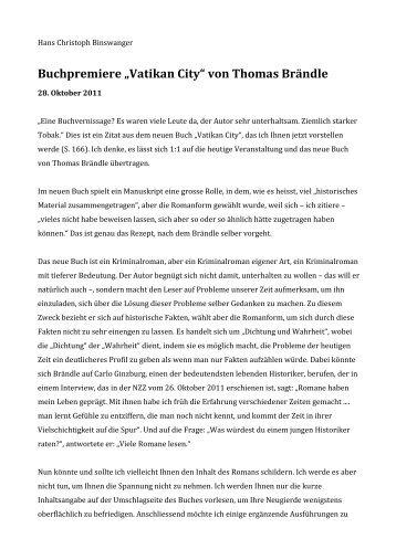 "Buchpremiere ""Vatikan City"" von Thomas Brändle - Synergia Verlag"