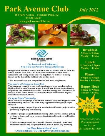 July 2012 Newsletter - Park Avenue Club
