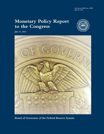 Monetary Policy Report to the Congress, July 13, 2011 - U.S. Senate ...