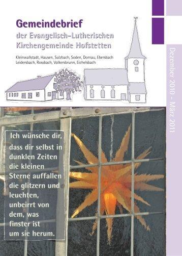 der Evangelisch-Lutherischen Kirchengemeinde Hofstetten