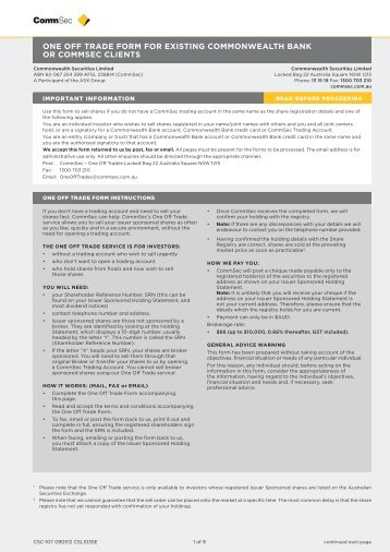 one off trade form for existing commonwealth bank or commsec clients