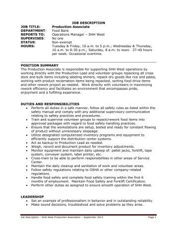 JOB DESCRIPTION JOB TITLE: Production Associate ...
