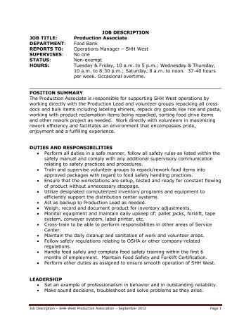 Job Description Job Title Production Associate   Production Associate Job  Description