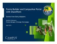 Forms Builder and CampusVue Portal with ... - CampusInsight