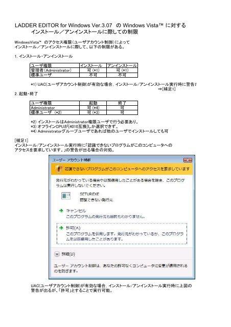 Windows Vista での対処について