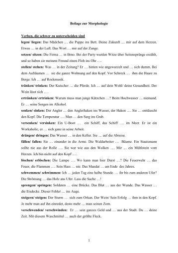 1 Beilage zur Morphologie Verben, die schwer zu ... - New Page 1