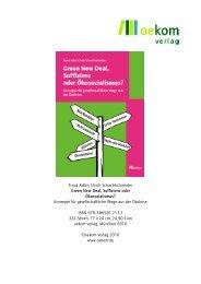 Frank Adler, Ulrich Schachtschneider Green New Deal, Suffizienz ...