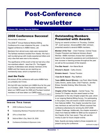 Post-Conference Newsletter - Medical Billing 101