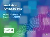 Workshop Antispam Pro - Belnet - Events