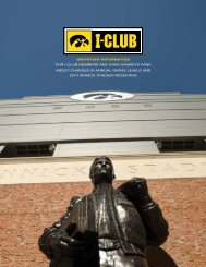 Important InformatIon for I-Club members and Iowa Hawkeye fans ...