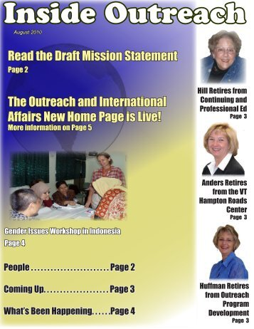 Aug 2010 - Outreach & International Affairs - Virginia Tech