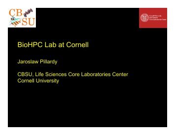 slides (PDF) - Computational Biology Service Unit (CBSU) - Cornell ...