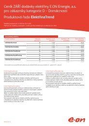 Ceník ZÁŘÍ dodávky elektřiny pro zákazníky kategorie D ... - E.ON
