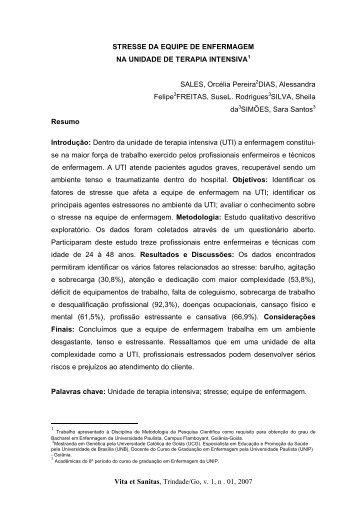 Vita et Sanitas, Trindade/Go, v. 1, n . 01, 2007 STRESSE DA ...