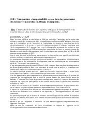 Cas du système de cogestion au Mali - IED afrique