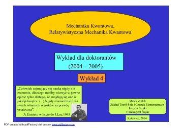 Wykład 4 - cd. Postulaty, Matematyka MK - Uniwersytet Śląski