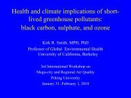 Health and climate implications of short- lived greenhouse pollutants ...