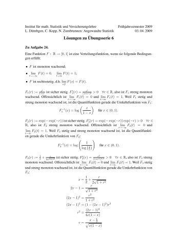Lösungen zu ¨Ubungsserie 6