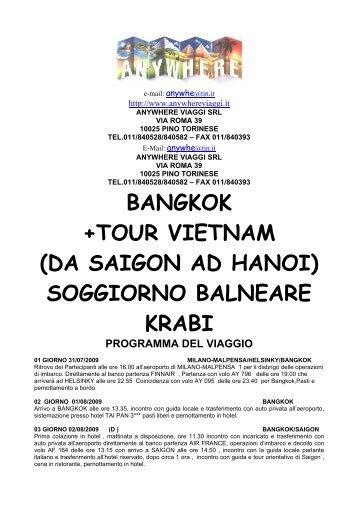 BANGKOK +TOUR VIETNAM (DA SAIGON AD ... - Anywhere Viaggi