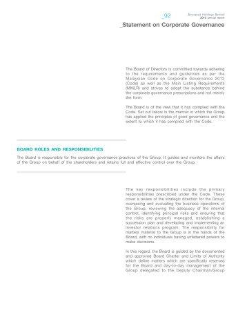 statement on corporate governance - Boustead Holdings Berhad