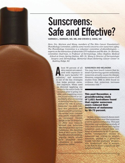 Sunscreens: Safe and Effective?