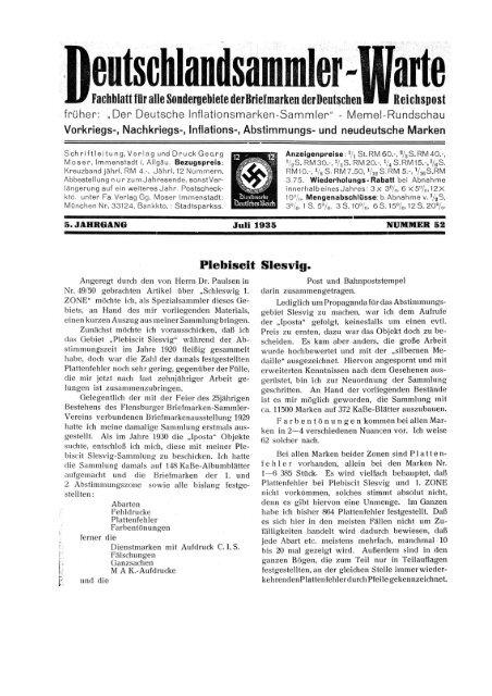 Heft 52 - INFLA-Berlin, Verein der Deutschlandsammler eV