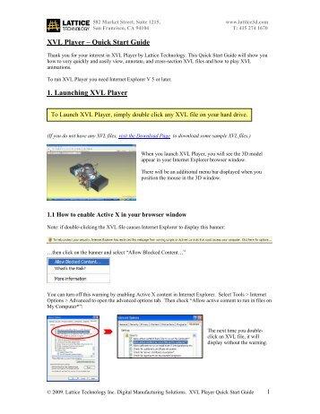 XVL Player_QStart_guide_june_09.pdf - Lattice Technology