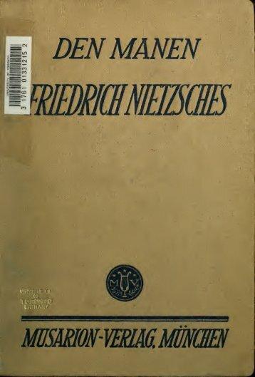Den Manen Friedrich Nietzsches; Weimarer Weihgeschenke zum 75 ...