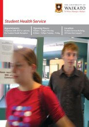 Student Health Service Brochure - The University of Waikato