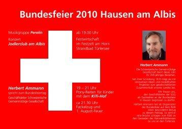 Bundesfeier 2010 Hausen am Albis - Kultur im Dorf