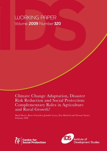 Climate Change Adaptation, Disaster Risk Reduction and Social ...