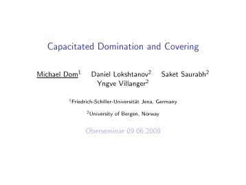Capacitated Domination and Covering - Mdom.de