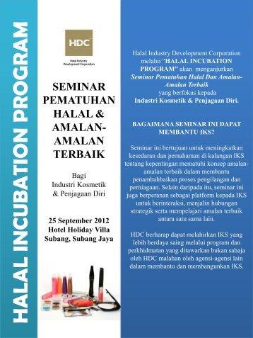 halal incuba tion prog ram - Halal Industry Development Corporation