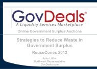 Solutions for government surplus - Reuse Alliance