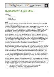 Nyhedsbrev - Tidlig Indsats i Vuggestuen. Juli 2013. - mitBUF.dk