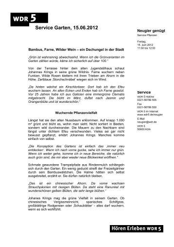 Service Garten - Bambus, Farne, Wilder Wein - WDR 5