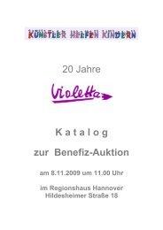20 Jahre K a t a l o g zur Benefiz-Auktion - Violetta
