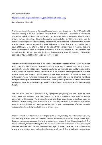 Esej o Australopitekovi http://www.becominghuman.org/node ...