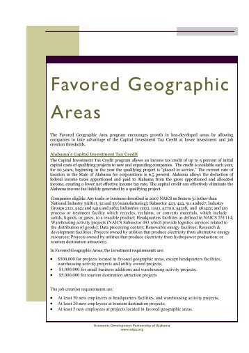 Favored Geographic Areas