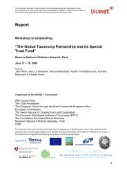 GTPF Stakeholder Workshop Report - BioNET