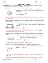 Deriving Formulas Worksheet - EAmagnet-geo