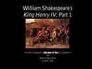 William Shakespeare's King Henry IV, Part 1 - Penn State University