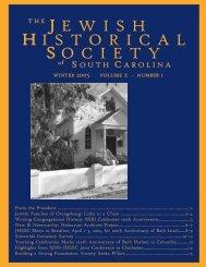 summer 2004 newsletter - Jewish Historical Society of South Carolina