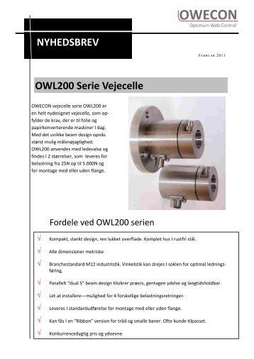 NYHEDSBREV OWL200 Serie Vejecelle - OWECON