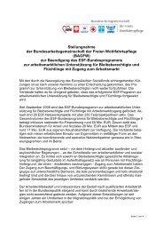 Stellungnahme der Bundesarbeitsgemeinschaft der ... - Land in Sicht!