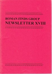 Newsletter 18 - July 1999 - Roman Finds Group