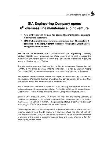 SIA Engineering Company opens 6 overseas line maintenance joint ...